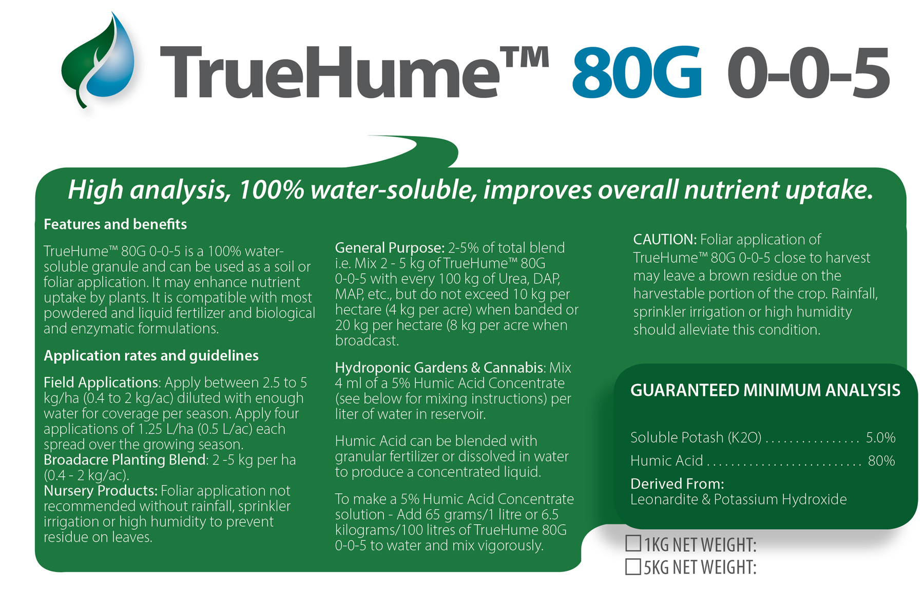 TrueHume 80G Soluble Humate Granules