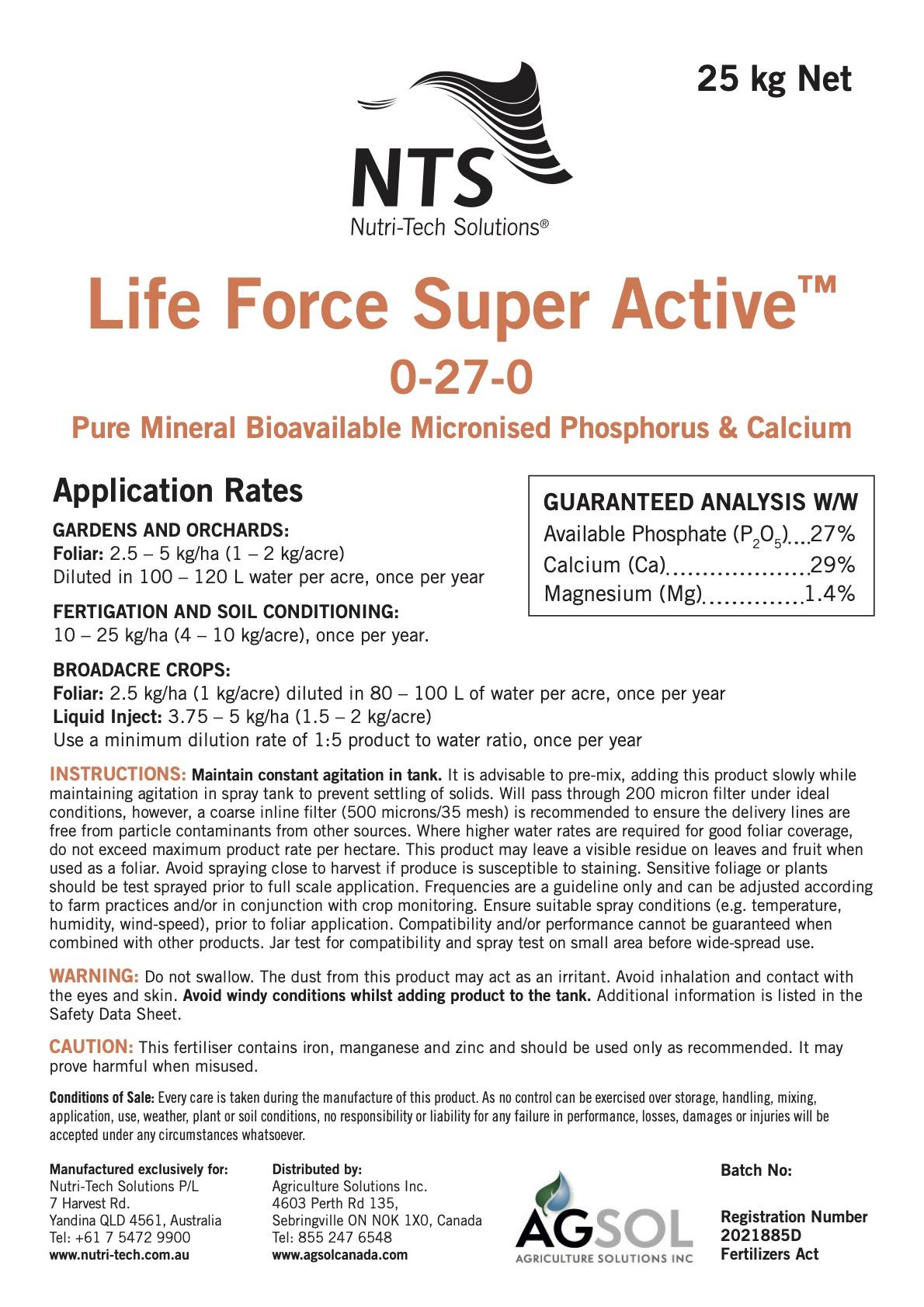 NTS Life Force Super Active 0-27-0