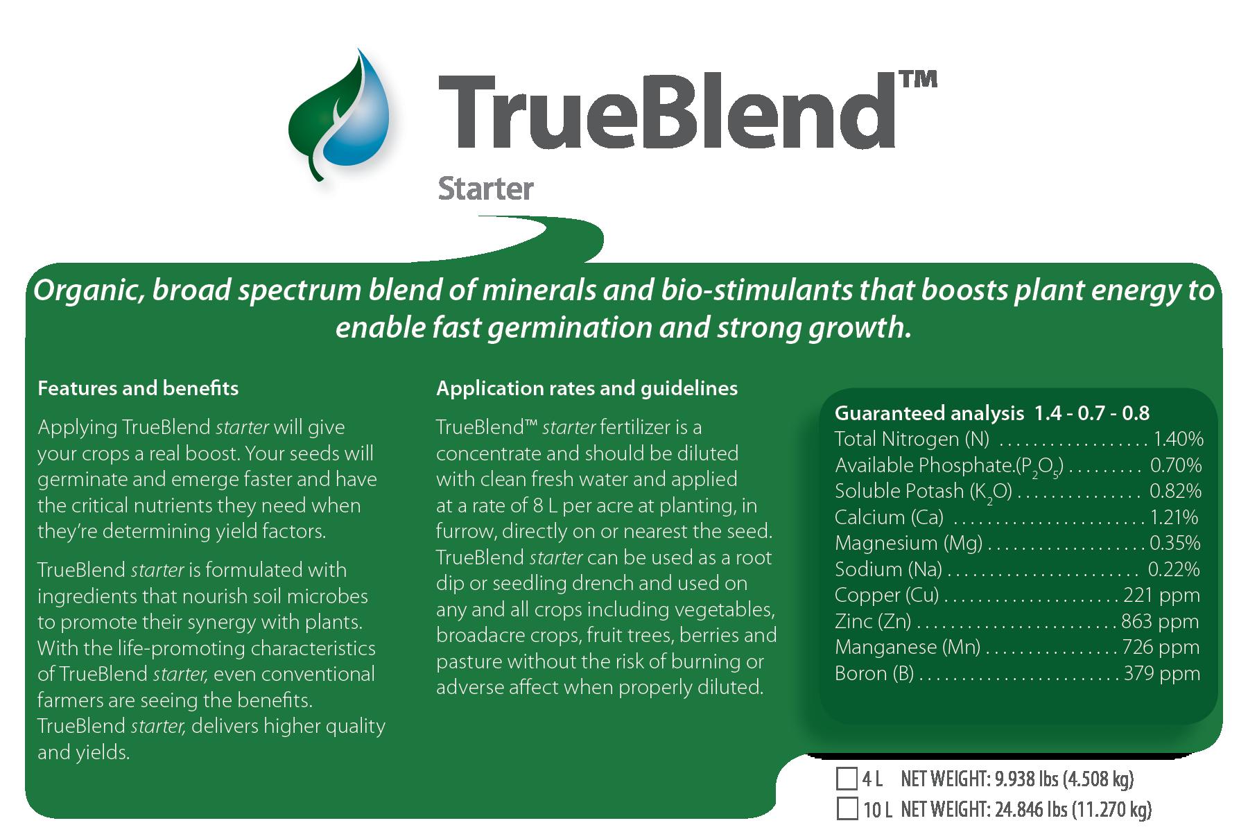 TrueBlend Starter product label image