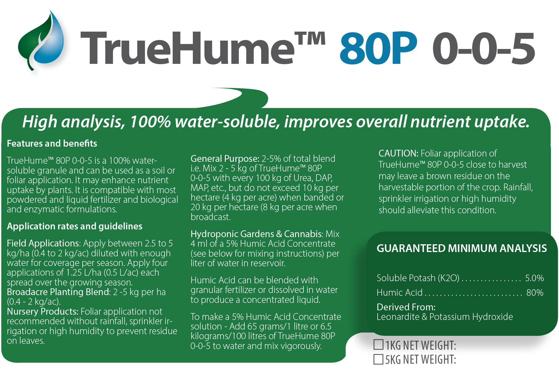 TrueHume 80P Soluble Humate Powder