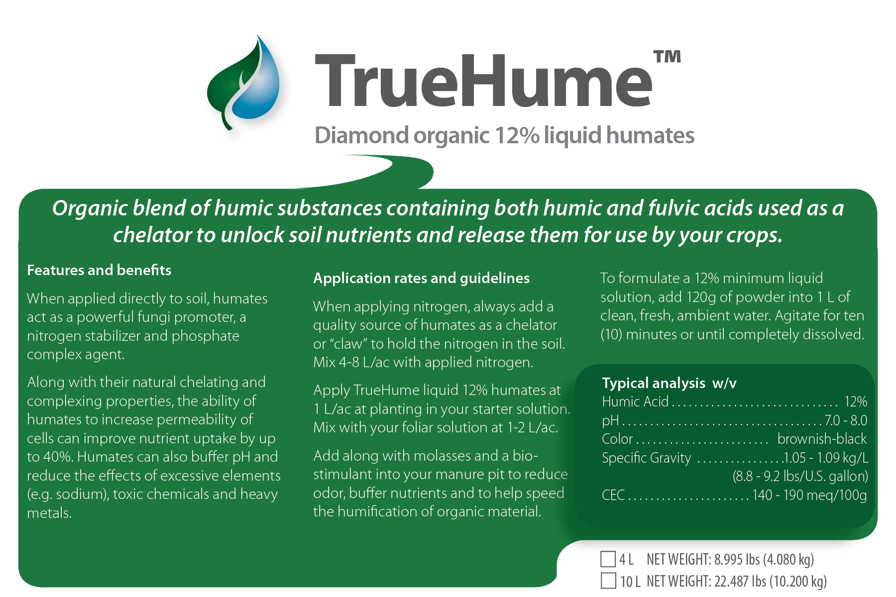 TrueHume Diamond 12% Organic Liquid Humates