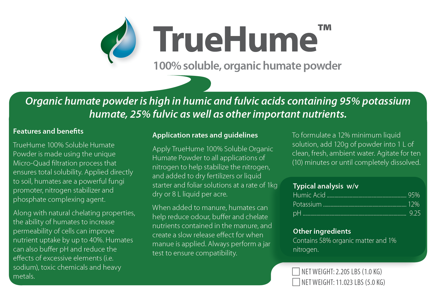TrueHume Organic Soluble Humate Powder