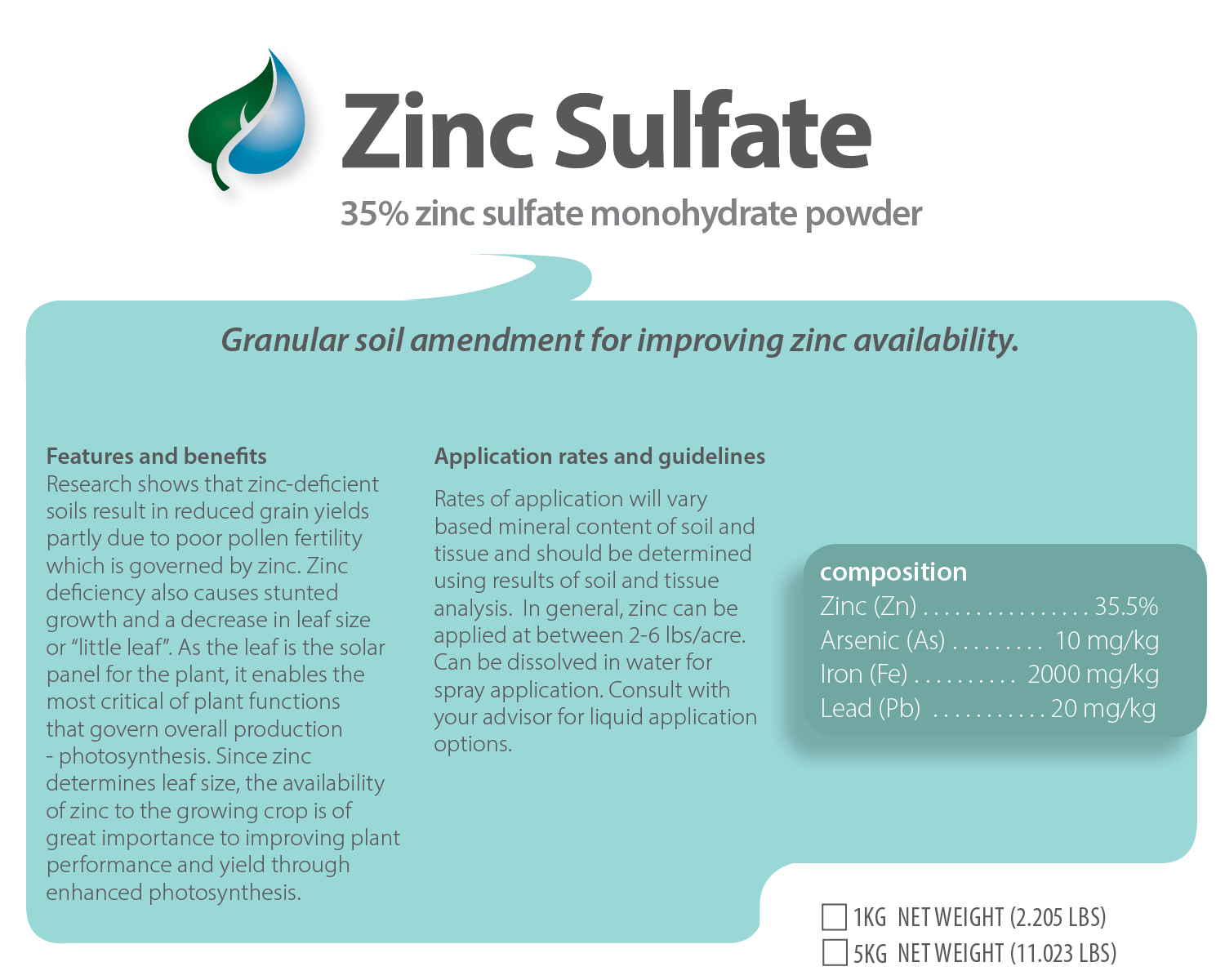 Zinc Sulfate product label